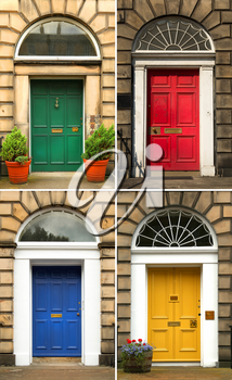 Collage of four old and colorful doors in blue, yellow red and green from Edinburg, Scotland